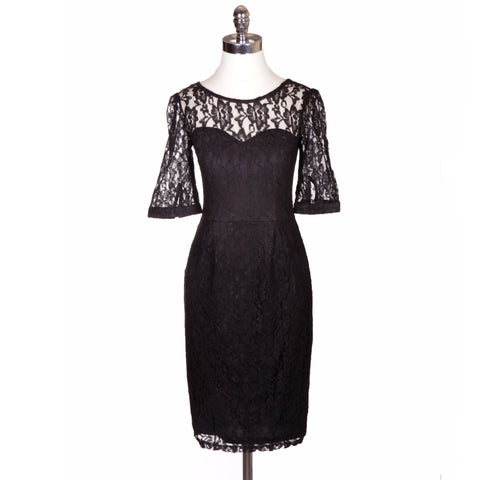"""Audrey"" Black Lace Dress with Lining and Alluring V Back"