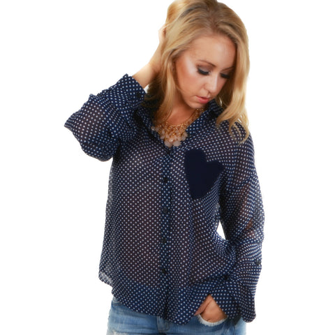 """Danielle"" Sheer Polk-A-Dot Sleeve with Heart Pocket"