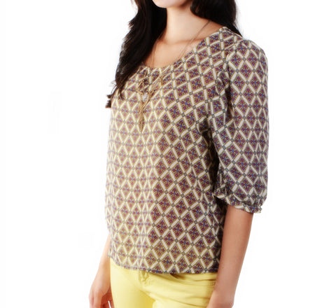 """Michelle"" Print Sheer Blouse"