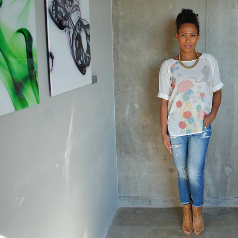 """Jodi"" Sheer Crane Print Top"