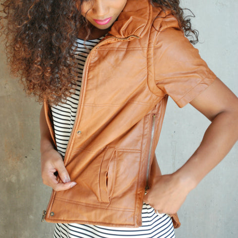 """Luna"" Removable Short Sleeve Faux Leather Vest"