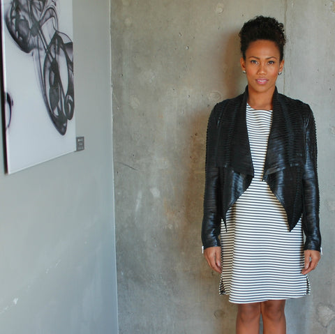 """Mila"" Faux Leather Tiered Jacket"