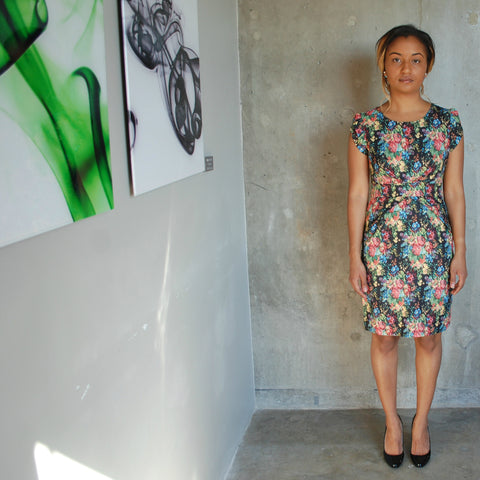 """Nahla"" Digital floral print, cap sleeve and waistband dress"