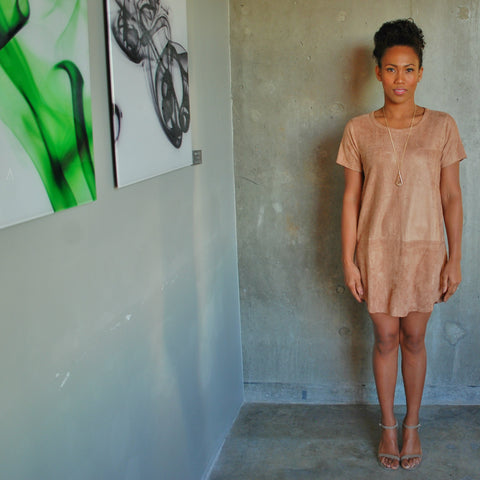 """Neve"" Faux Suede Shift Dress"