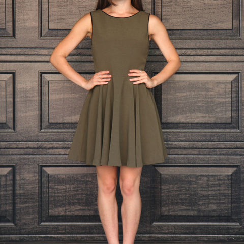 """Rene"" Contrast Back Skater Dress"