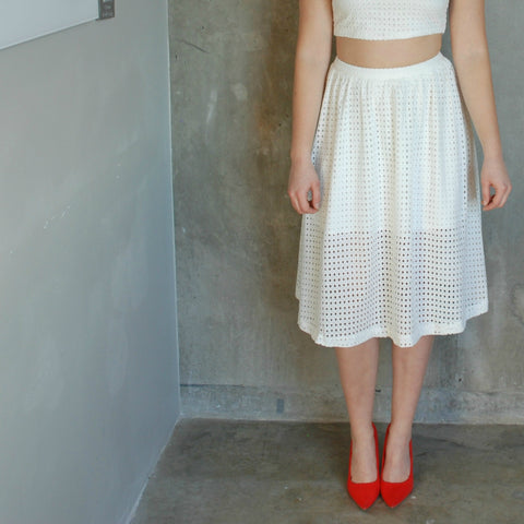 """Stacey"" Waffle A-Line Skirt"