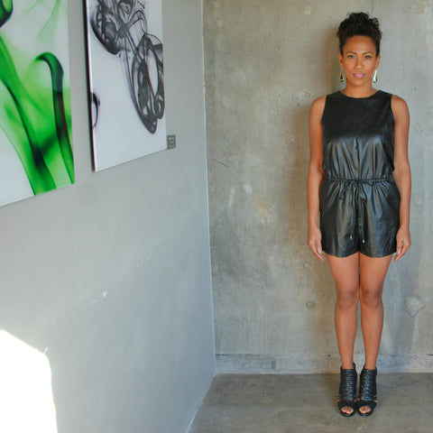 """Toni"" Faux Leather Romper"