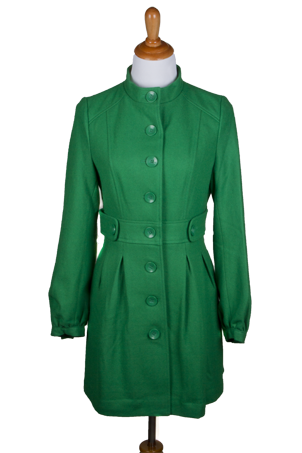 """Alexa"" Puff Sleeve Coat with Button Tab at Waistband"