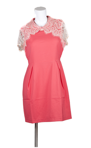 """Ali""Capsleeve Eyelash Lace and Collar Dress"