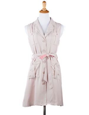 """Amanda"" Sleeveless Shirt Waist Dress with Sash"