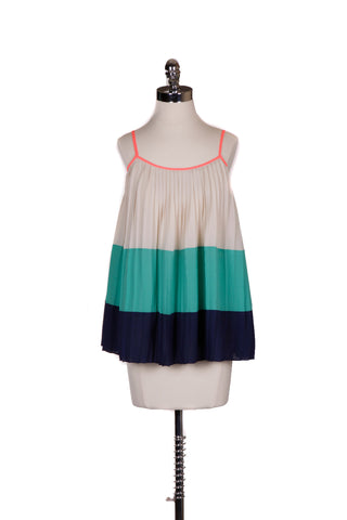 """Chelsea""	Colorblock Pleated Tank"