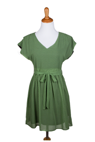 """Cynthia"" Polka Dot V-neck Capped Sleeves A-line Dress with Sash"