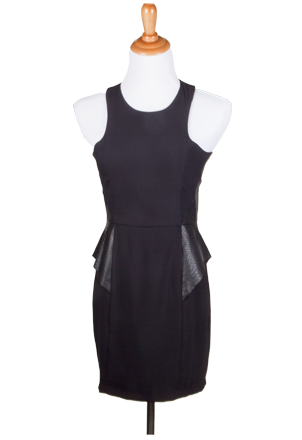 """Debbie"" Vegan Leather Peplum Dress"