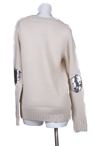 """Dylan"" Sparkle Heart Shaped Elbow Patches Sweater"