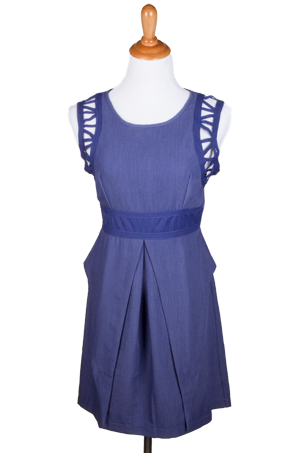 """Glyness"" Cutout Accent Sleeveless Dress with Peplum Back"