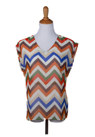 """Jennifer"" Chevron Print Top"