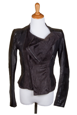 """Sheila"" Lightweight Moto Jacket w/Vegan Leather Quilted Patches on Sleeves"