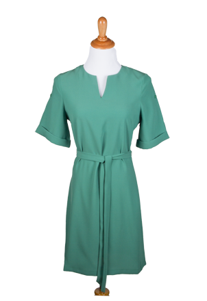 """Stephanie"" Button Accent Roll-Up Sleeves Dress with Sash"