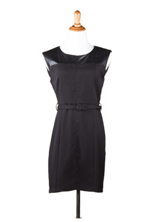 """Veronica"" Vegan Leather Upper Sheath Dress with Belt"