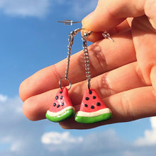 Load image into Gallery viewer, Polymer Clay Watermelon Dangle Earrings
