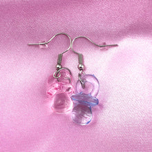 Load image into Gallery viewer, Pink/Blue Pacifier Earrings