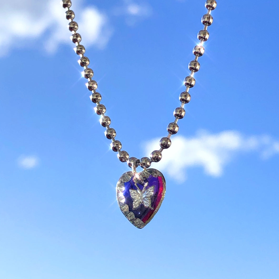 BUTTERFLY GLASS CHARM NECKLACE