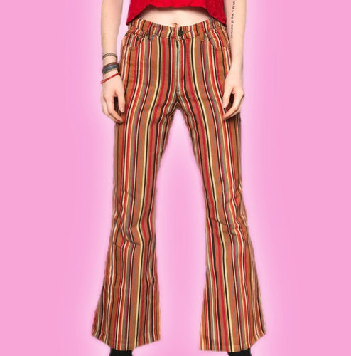 90s VINTAGE STRIPED FLARED JEANS