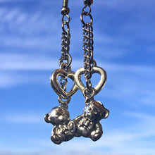 Load image into Gallery viewer, Teddy Bear Heart Earrings