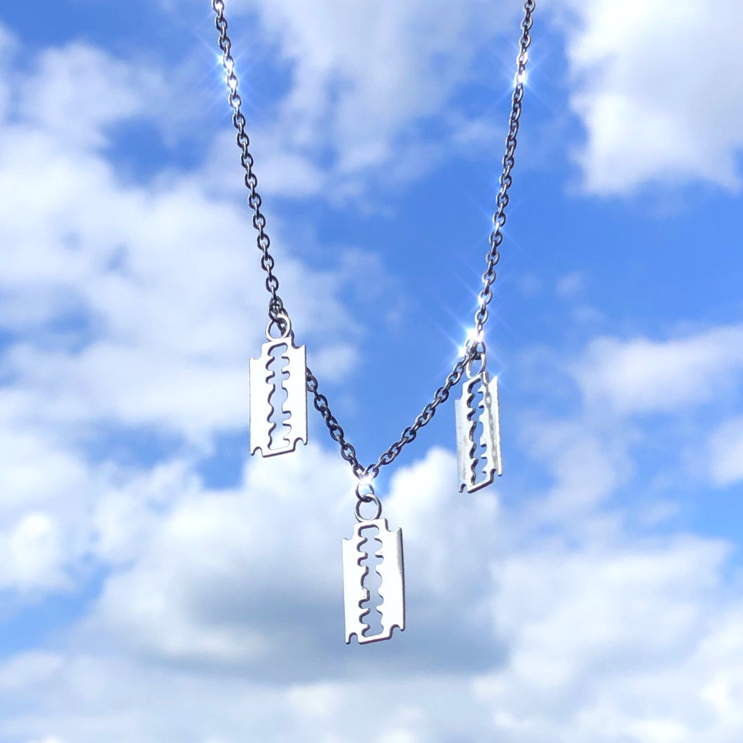 Triple Razor Blade Necklace