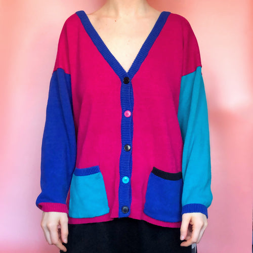 80s 90s COLORBLOCK CARDIGAN