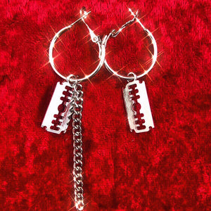 Razor Blade Hoop Earrings