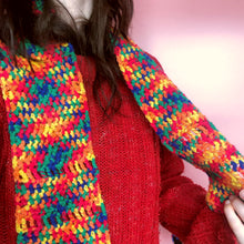 Load image into Gallery viewer, RAINBOW CROCHET SCARF