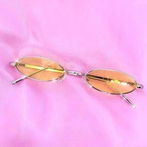 Yellow Oval Retro Sunglasses