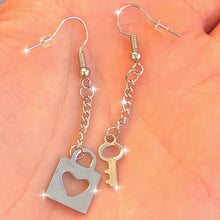 Load image into Gallery viewer, HEART LOCK & KEY EARRINGS