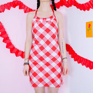 Y2K Gingham Neckholder Dress
