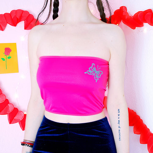 Pink Y2K Butterfly Tube Top