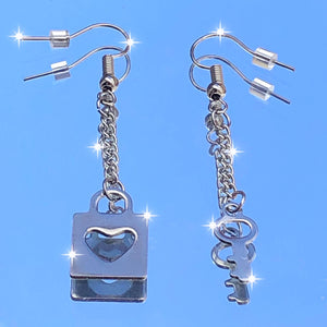 HEART LOCK & KEY EARRINGS