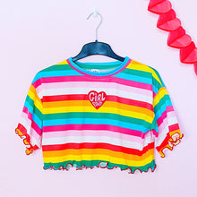 Load image into Gallery viewer, GIRL POWER Rainbow Crop Top