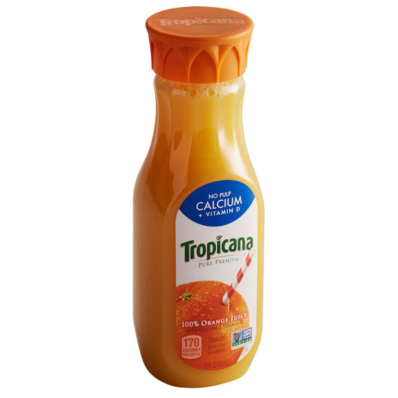 Tropicana 12 oz. No Pulp Pure Premium Orange Juice - 12/Case