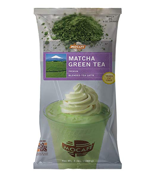 MOCAFE Matcha Green Tea Blended Tea Latte, 3-Pound Bag Instant Frappe Mix (Case of 4)