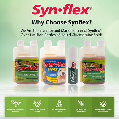 Synflex for Pets Liquid Glucosamine Complex Premium Joint & Cartilage Care Beef Flavor - 32 Day Supply (8 Fluid Ounces)