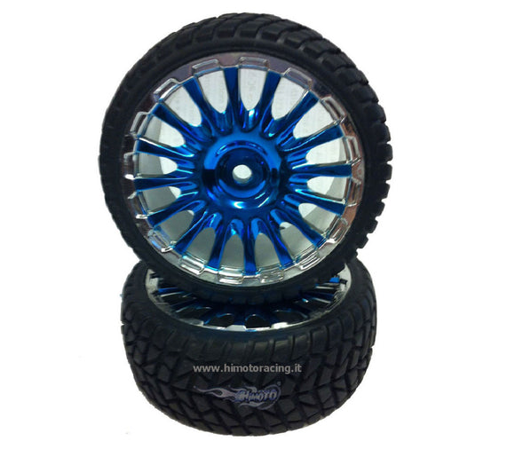 Coppia ruote complete cromaye blu Sport Rally EXR-16 Himoto