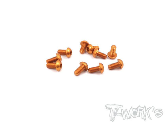 7075-T6 Hex. Socket Button Head Screw  10pcs.-Orange-3x4mm