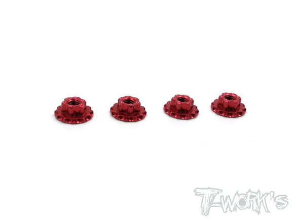 Dadi autobloccanti M4 Large-Contact colori selezionabili,TA-089 Alum Large-Contact Serrated Flanged Wheel Nuts (4pcs.)-Red