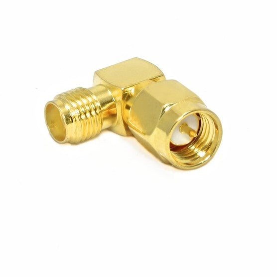 ANTPROL90    RF Sma Connector Male to SMA Female Jack Right Angle(R/A) Gold Adaptor