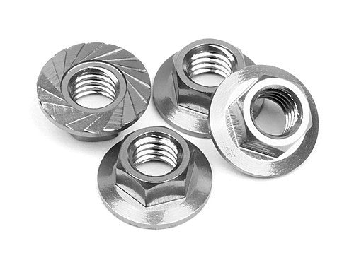Serrated M4 Steel Wheel Nut pk4
