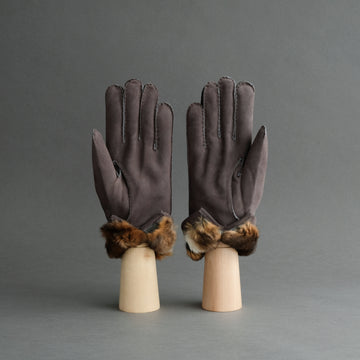 Gentlemen's Gloves from Grey Reindeer Suede Lined with Orylag Fur
