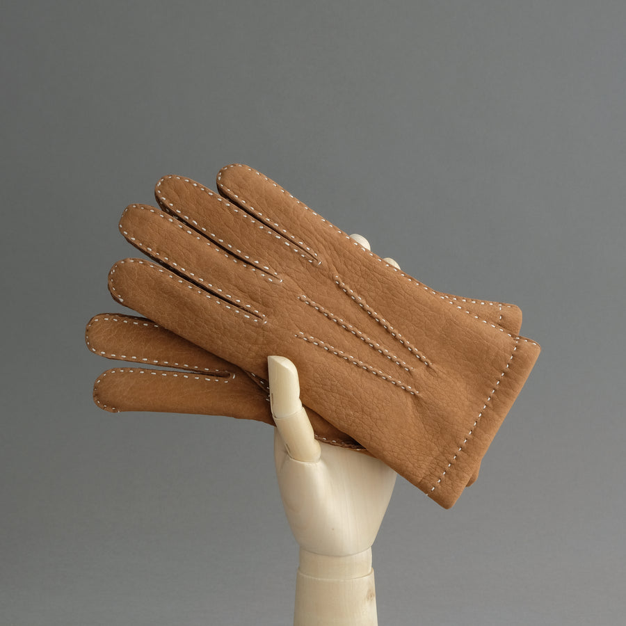 Gentlemen's Gloves from Cognac Calfskin Lined with Cashmere