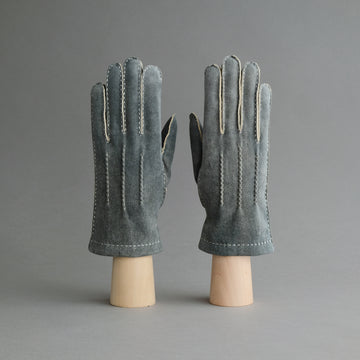 Gentlemen's Gloves from Grey-Blue Goatskin Lined with Cashmere
