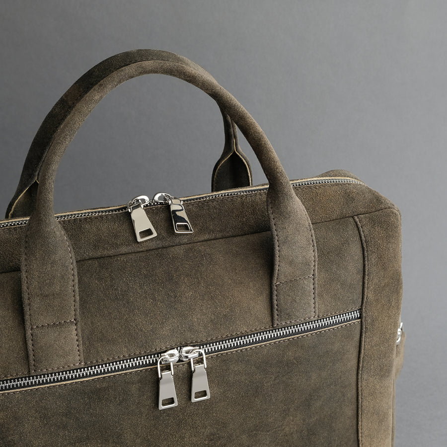 Laptop Carrying Bag Made From Walnut Goatskin Suede